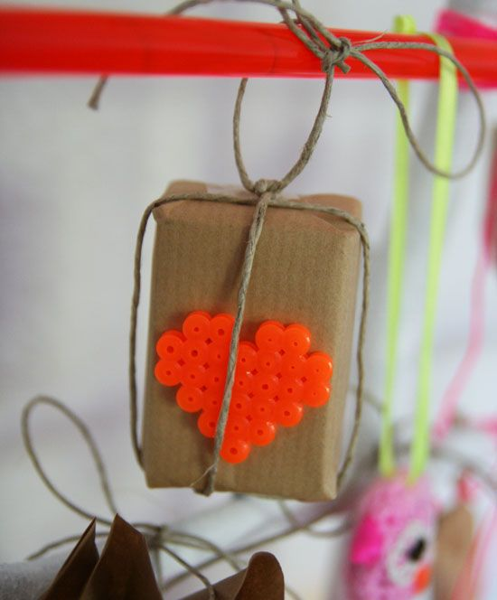 Heart Hama Beads and Brown paper Packages