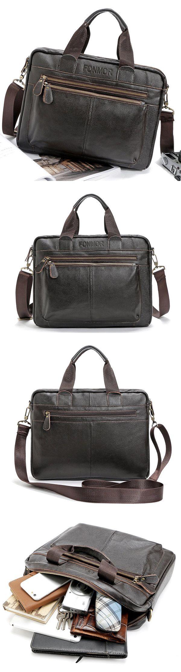 Big Capacity Leather Business Briefcase  /Crossbody Bag /Shoulder Bag for Men
