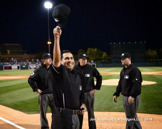Home plate umpire and former Dodger Batboy Alex Ortiz, pic via Jon SooHoo/LA Dodgers 2014