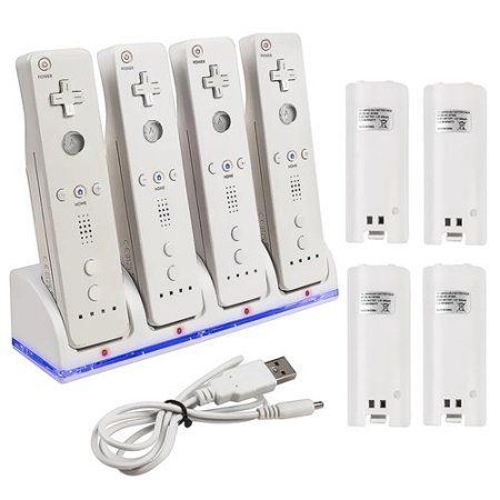 17 best ideas about nintendo wii controller wii insten quad dock charge station cradle charger 4 pack rechargeable battery for nintendo wii wii u remote controller white usb charging cable