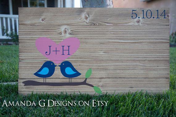 Love Bird Guest Book Wood Sign #guestbook Amanda G Designs