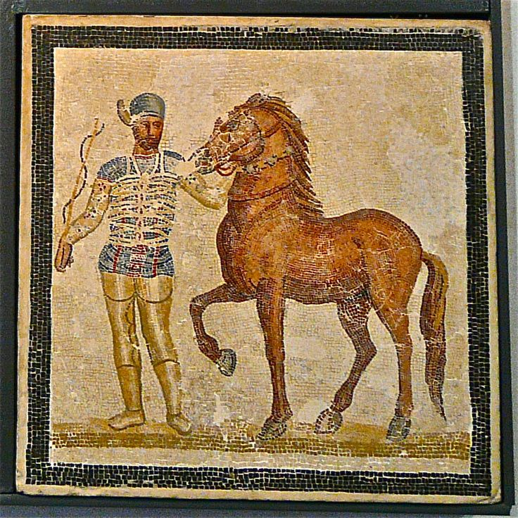 Mosaic depicting a charioteer of the Blue team and one of the horses he drove around the Circus Maximus in Rome. From Baccano, 3rd century AD. National Roman Museum in Palazzo Massimo alle Terme.