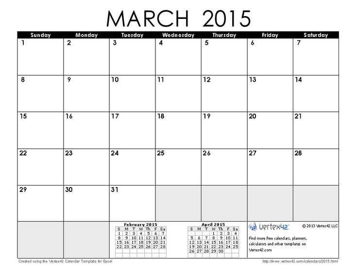 Download a free March 2015 Calendar from Vertex42.com