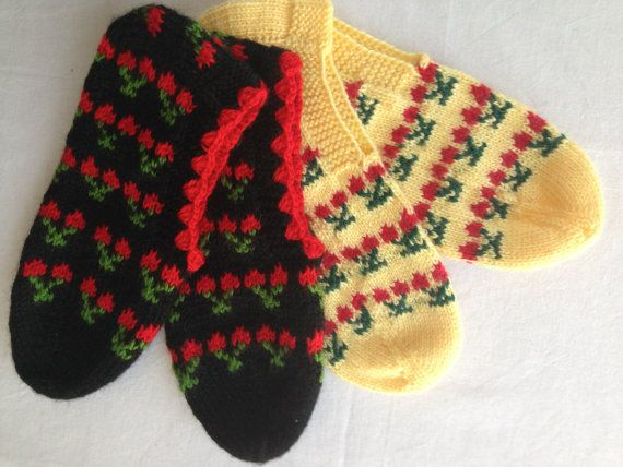 traditional hand knitted cherry figured slippers, women booties, socks slippers, adult slippers, women slippers,handmade on Etsy, 25,00$