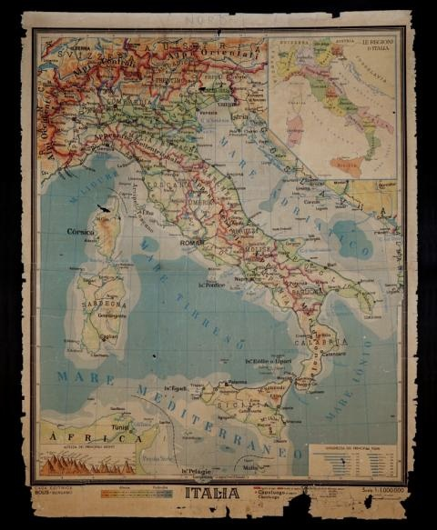 Reproduction Scholastic Map of Italy