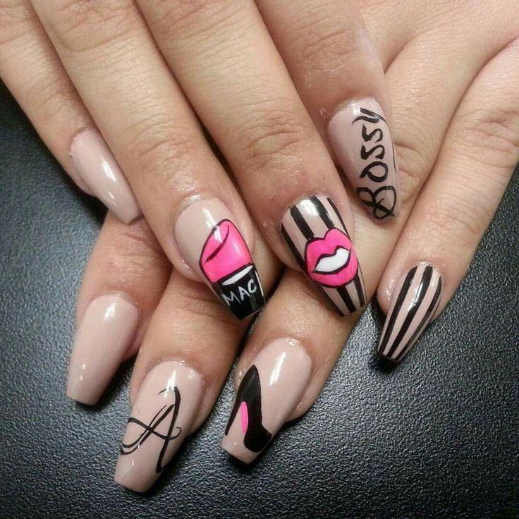 Nail art Nail designs Mac makesup Heels Bossy nails