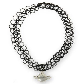 Handmade Stretch Tattoo Choker Necklace with Charm
