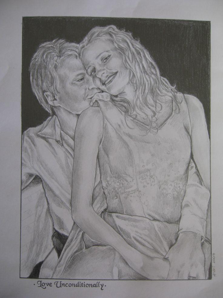 Portrait Chris and Shantel wedding - pencil sketch