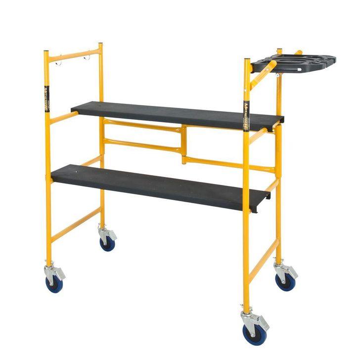 4 ft. x 4 ft. x 2 ft. Mini Rolling Scaffold 500 lb. Load Capacity with Tool Shelf