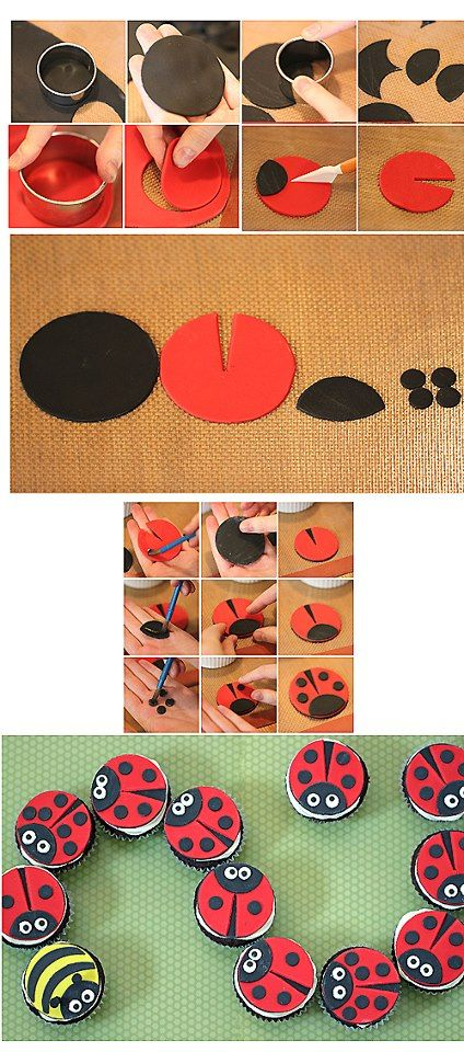 Lady Bug toppers!  :) cupcake fondant cake decorating tutorial on how to make ladybug cupcakes