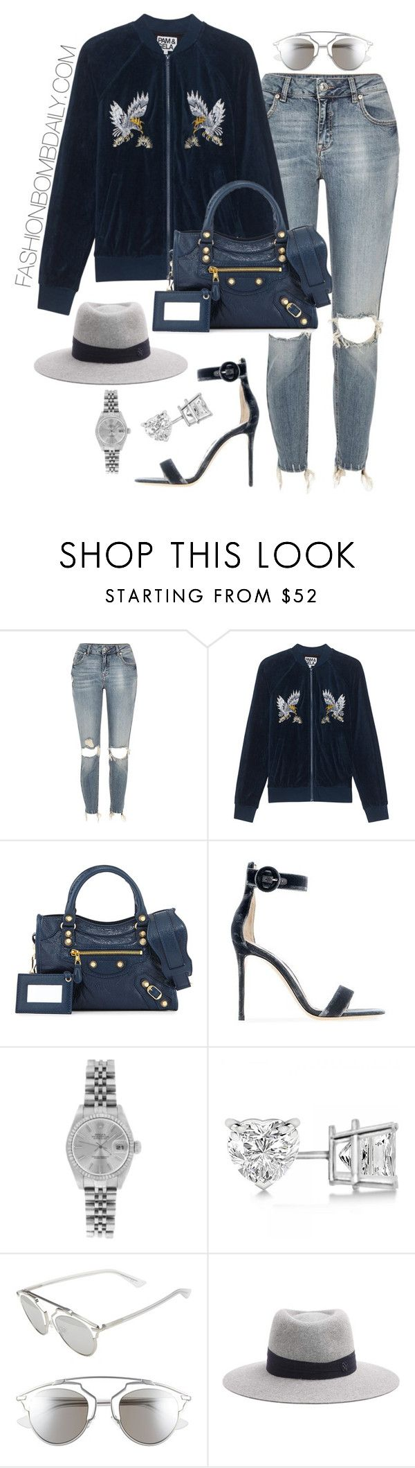 """""""Untitled #1954"""" by dnicoleg ❤ liked on Polyvore featuring River Island, Pam & Gela, Balenciaga, Gianvito Rossi, Rolex, Allurez, Christian Dior and Maison Michel"""