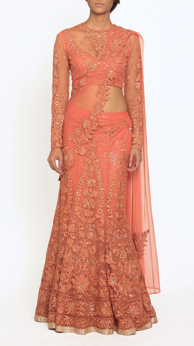 Coral Embroidered Lehenga Sari with a Stitched Blouse