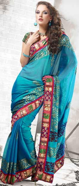 Shaded Turquoise Blue Faux Chiffon Saree With Blouse | $94.86
