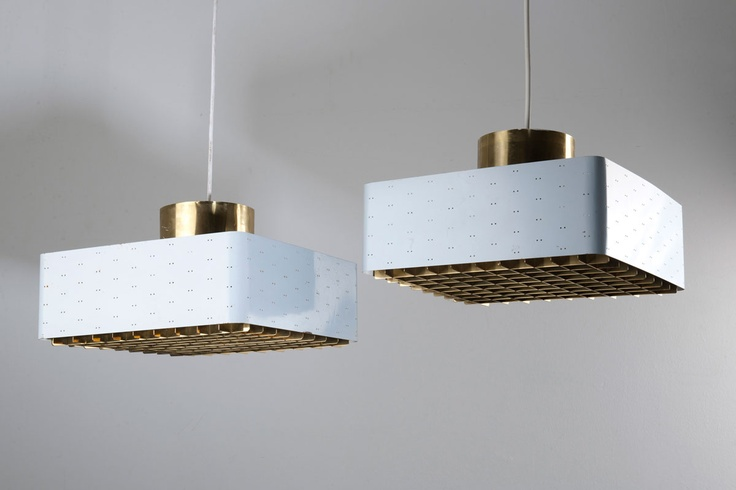 Paavo Tynell. Pair of 9068 ceiling lights, 1950s. H. 21.3 x 40 x 40 cm. Made by Idman Oy, Helsinki. Metal sheet, perforated, painted bluish grey and white, matted glass.