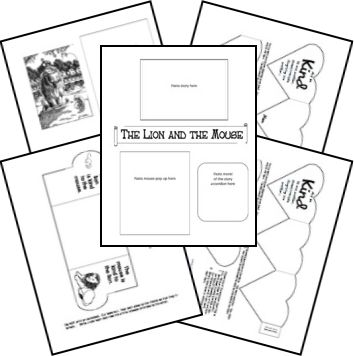 """LITERATURE: Aesop's Fables Lapbook. Scroll through tons of great resources, including Elements of Fables and """"The Man Behind the Stories"""" minibooks!"""