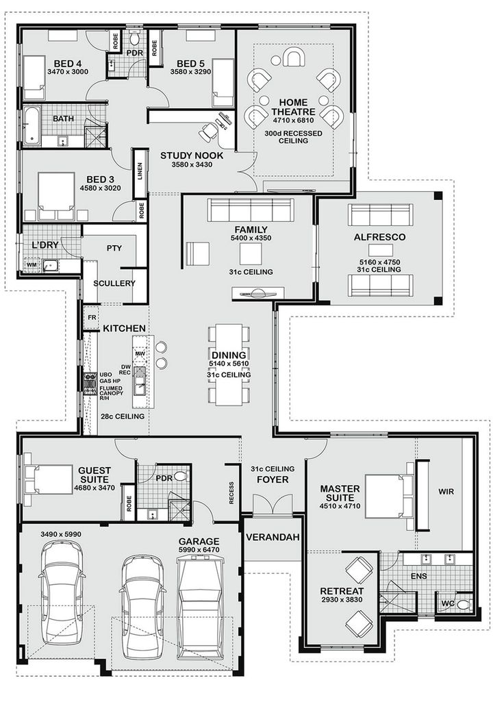 Today I have this large 5 bedroom family home to show you. It's a good size and would suit the growing family. The guest bedroom could be used as a teenagers retreat. The master is spacious with its own living area and huge WIR behind the bed. I like that!
