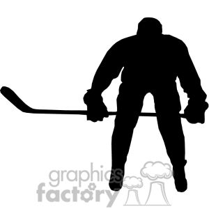 Clipart of Hockey player silhouette. | 373869 | Royalty-Free Clipart by Graphics Factory