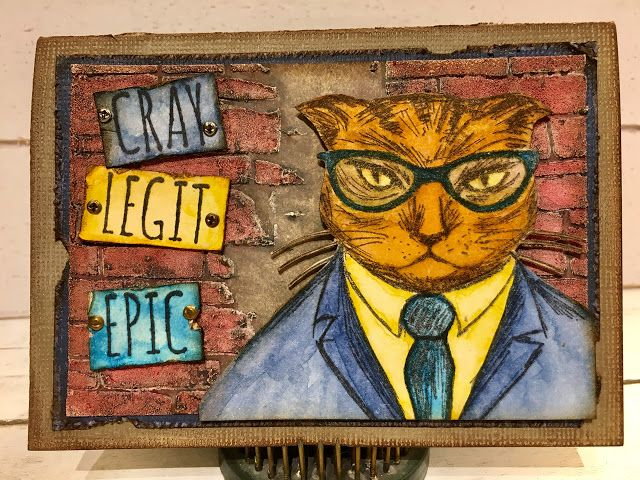 Tim Holtz Stampers Anonymous Hipster Stamps Card samples by playswellwithpaper Photo tutorial