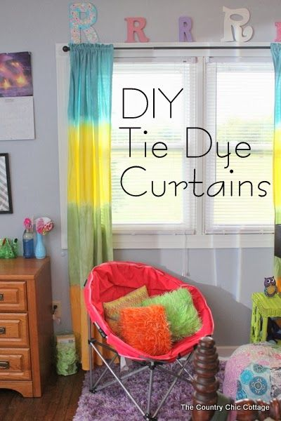 DIY Tie Dye Curtains -- learn how to make your own striped tie dye curtains