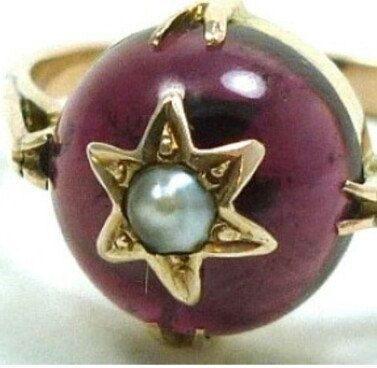 Carnelian Pearl Antique Rose Gold Ring, Celestial Spinning Star, Opaque Red Stone Ring