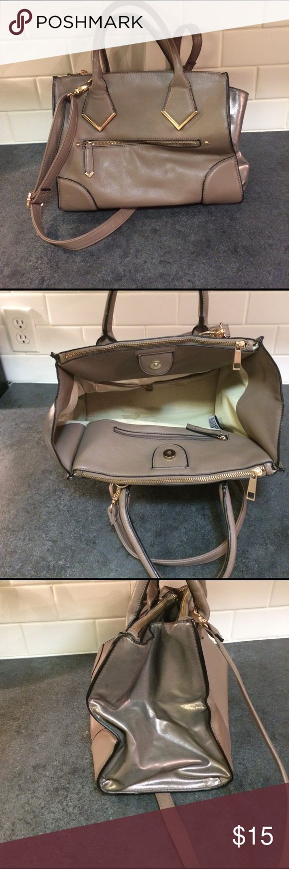 "2 Tone Aldo Bag Beautiful Aldo Bag. Gold hardware. Body of Bag is a taupe color, sides are metallic. 3 large compartments. Inside of Bag needs cleaning. Good used condition. 12"" length X 11"" depth x 7.75"" width. Aldo Bags"