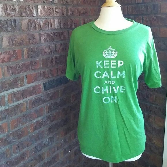 Keep Calm and Chive On Top Perfectly Good Chive Shirt! My Husband bought it thinking a XL would fit! It's a men's top! But a girl could totally Rick it! If your a L it would fit you The Chive Tops Tees - Short Sleeve