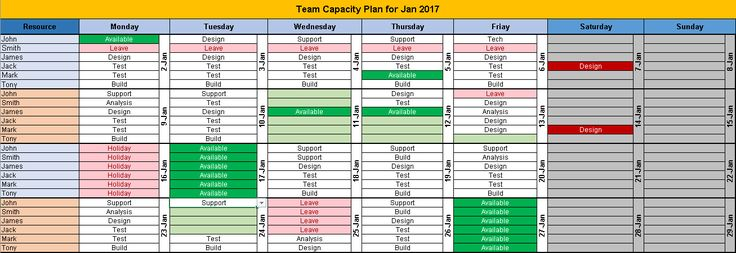excel team calendar template download  plan monthly schedule