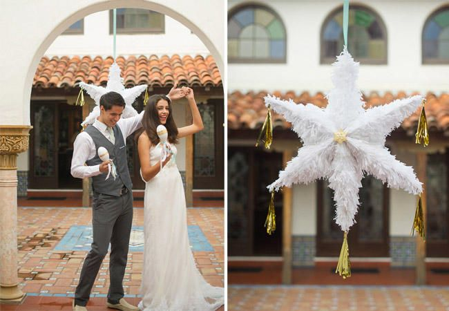 12 Wedding Pinatas We're Obsessed With | Photo by: Photo by: Flutter Glass Photography via 100 Layer Cake | TheKnot.com