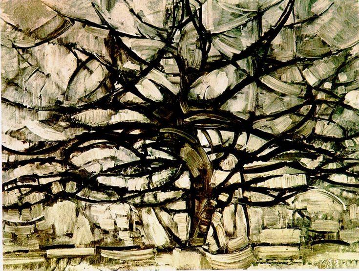 """Pieter Cornelis """"Piet"""" Mondriaan, after 1906 Mondrian (March 7, 1872 – February 1, 1944)  Gray Tree  Oil on canvas, 1912  78.5 × 107.5 cm  Gemeentemuseum Den Haag, The Hague"""