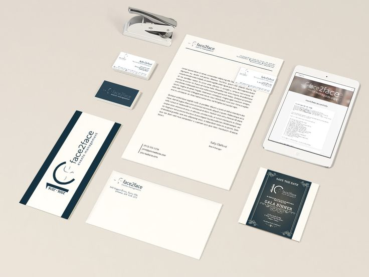 Face2Face stationary and branding design