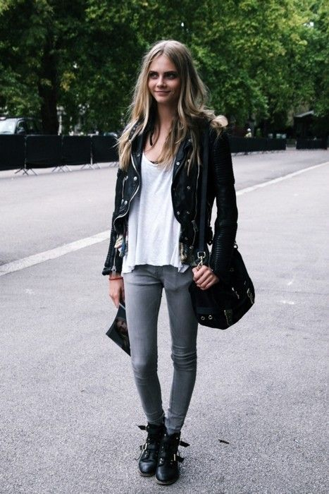 Shop this look for $140:  http://lookastic.com/women/looks/jacket-and-crew-neck-t-shirt-and-skinny-jeans-and-boots-and-crossbody-bag/1862  — Black Leather Jacket  — White Crew-neck T-shirt  — Grey Skinny Jeans  — Black Leather Boots  — Black Suede Crossbody Bag