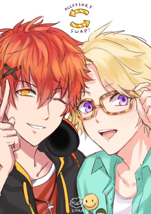 "chikappi: "" Seven and Yoosung accessory swap!! (+ Sleeping LOLOL Prince and…"