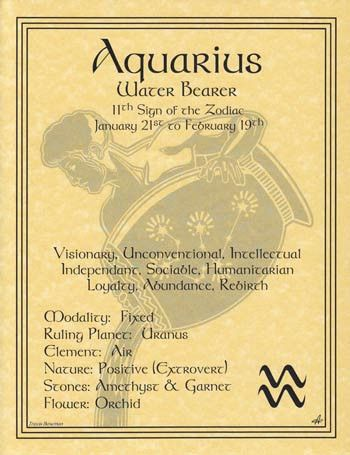 A wonderful reference, the aquarius zodiac poster explores the qualities of the 11th sign of the zodiac. Hang it by your altar or keep it on hand to refer seeking to better understand how the influenc