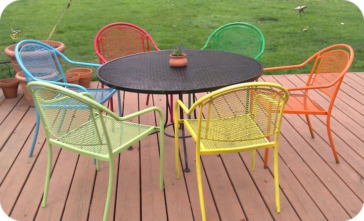 Amazing Cast Metal Patio Furniture of Vintage Aluminum Garden Chairs on Multi Color Paint Finishes also Round Iron Outdoor Table Above Engineered Oak Flooring from Backyard Patio Ideas