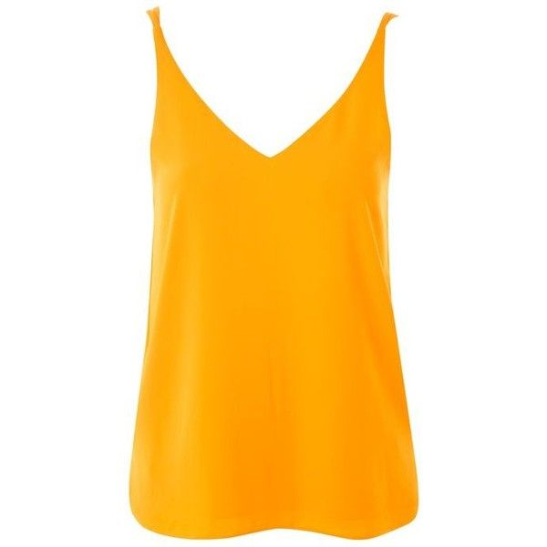 Topshop Tall Double Strap v-Neck Camisole Top ($20) ❤ liked on Polyvore featuring tops, cami top, orange cami, long cami tops, orange top and v-neck tops