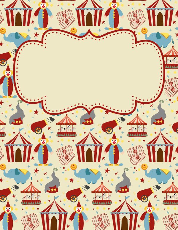 Free printable circus binder cover template. Download the cover in JPG or PDF format at http://bindercovers.net/download/circus-binder-cover/