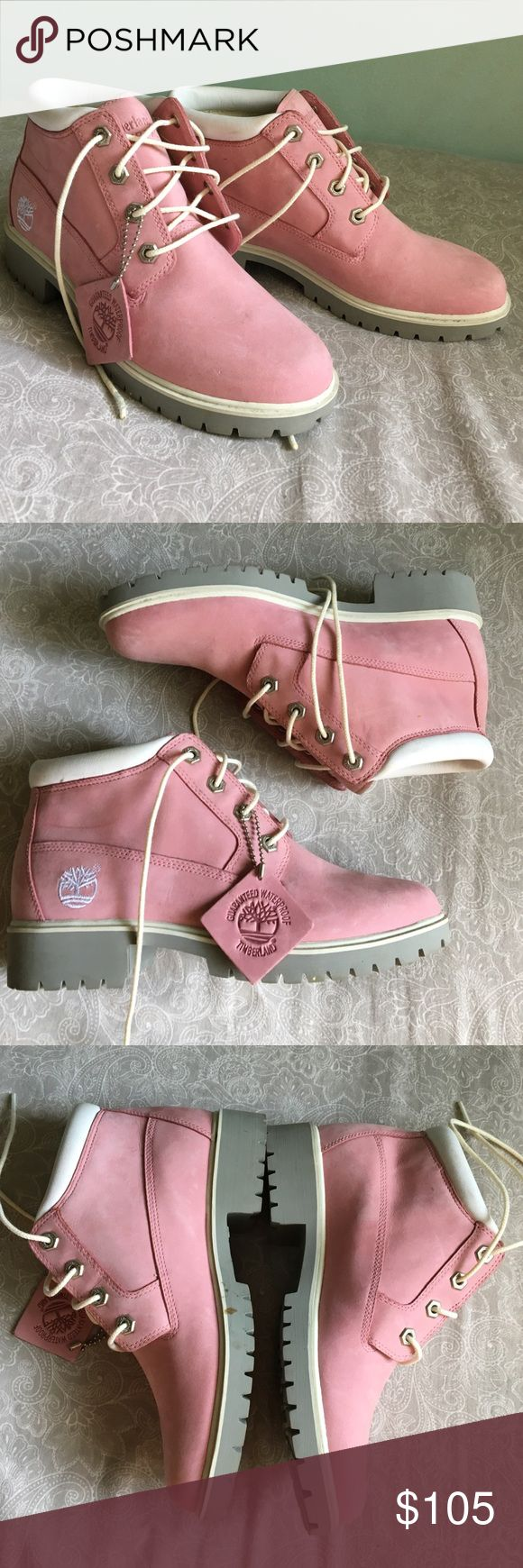 NWOB Pink Timberlands waterproof boots Practically brand new! Just missing the box. Still has leather Timberland tag attached. 100% real leather and waterproof material. White laces. Clean bottoms. No creases!   ↠ No trades  ↠ 15% bundle discount  ↠ Lowball offers are declined  ↠ I ship same or next day  ☞ Follow my Instagram- Seahighmarket Timberland Shoes Ankle Boots & Booties