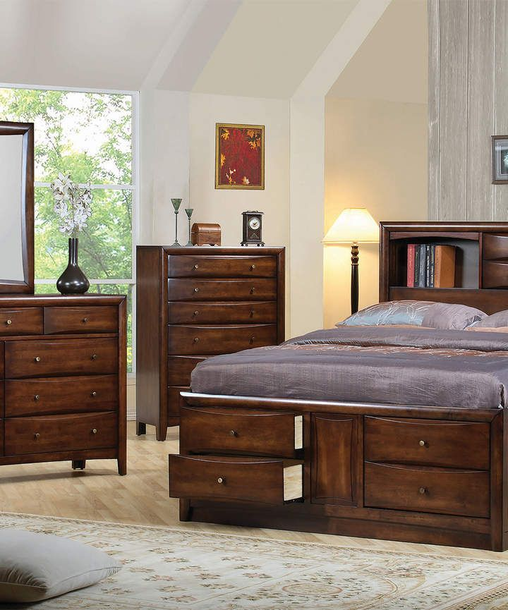 Warm Brown Hillary Queen Bookcase Storage Bed Sponsored