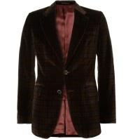 Alexander Mcqueen Slimfit Plaid Velvet Suit Jacket in Brown for Men