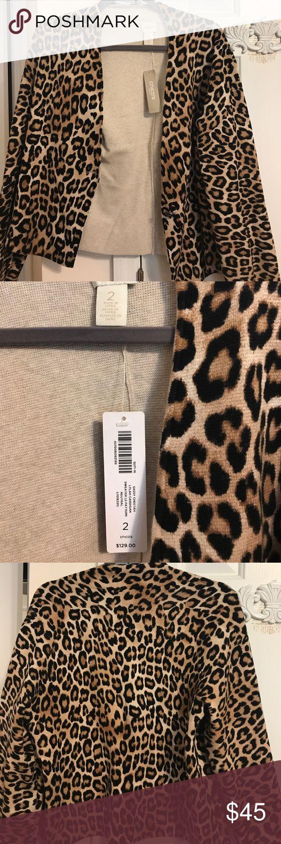 Chicos NWT sassy cheetah cardigan Neutral sassy cheetah cardigan NWT Chico's Tops