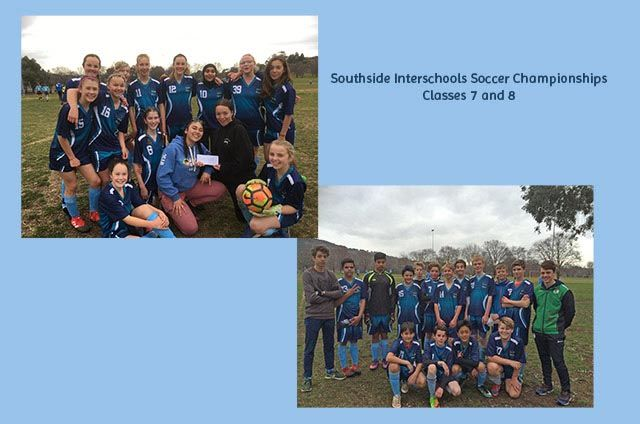 We have teams of class 7 and 8 students participating in the Southside Interschools Soccer Competition. Congratulations to the girls, they won 3-0.