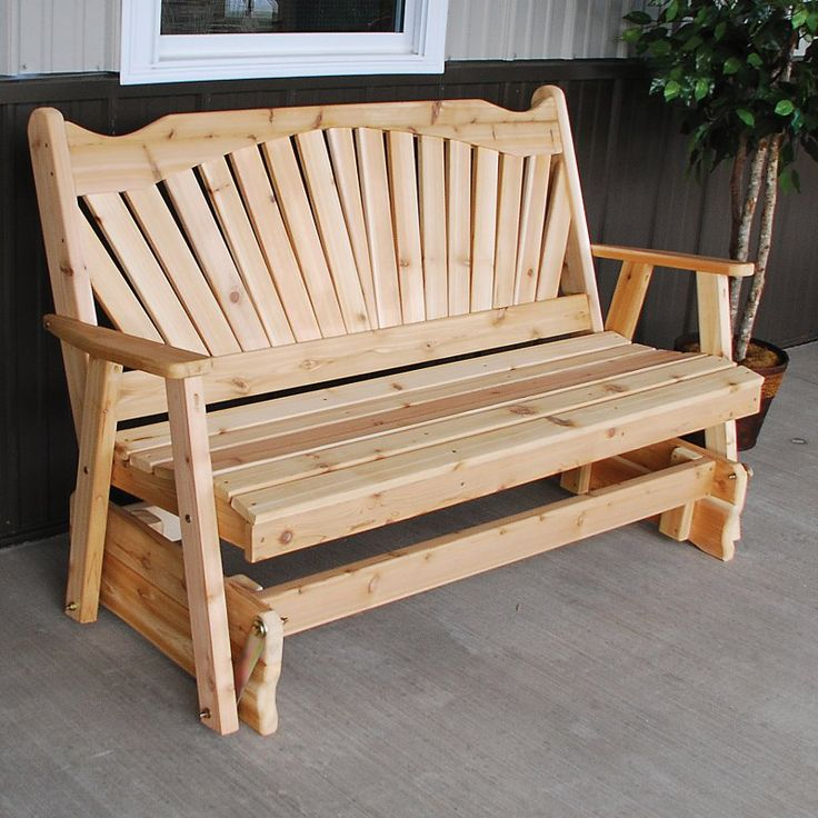 A U0026 L Furniture Western Red Cedar Fanback Outdoor Loveseat Glider    581C UNFINISHED