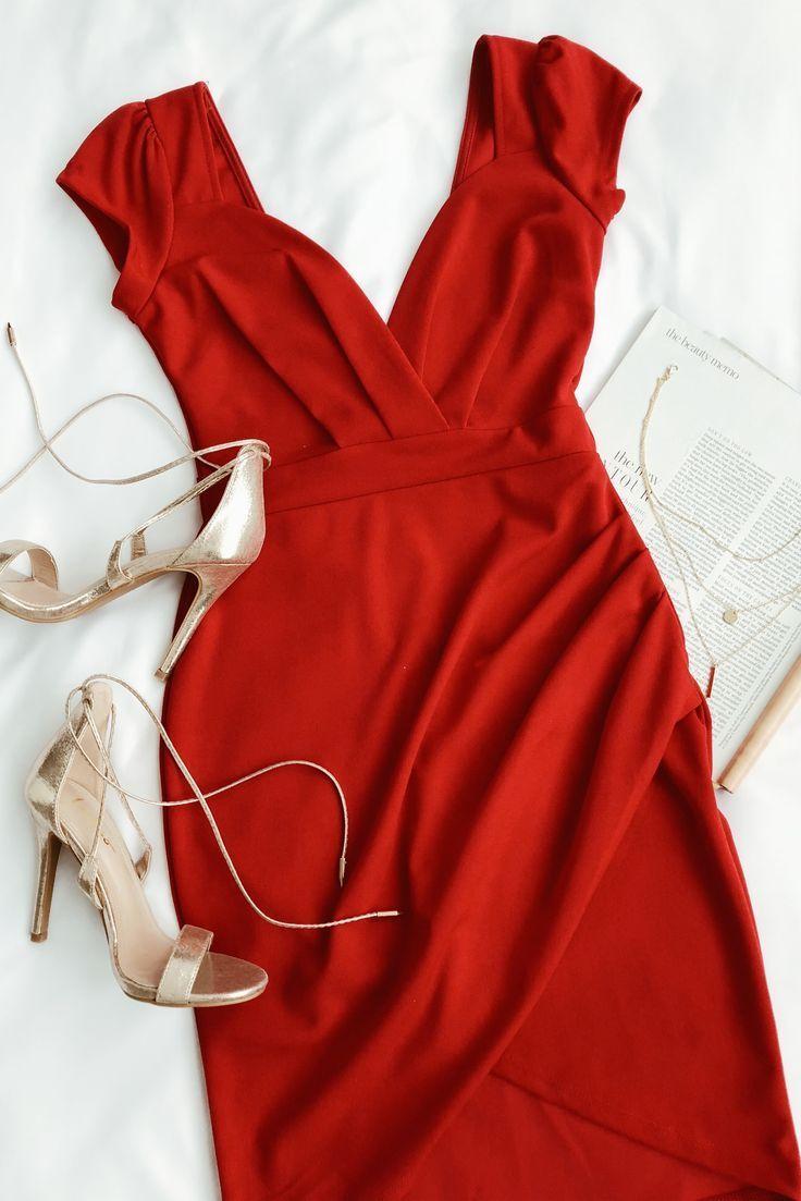 romantic endeavor red short sleeve bodycon dress   kleidung