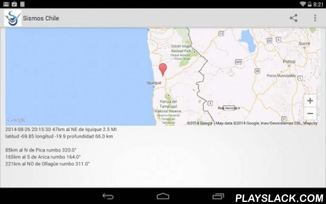 Chile Earthquakes  Android App - playslack.com , Welcome to Southern Pacific Review's Earthquake Chile app for Android. To use this app, click on any earthquake to see its location on a map and the distance to nearby cities. Then post this data to Twitter or Facebook or send it out via email.This app shows earthquakes for the past few hours. There is one tab for the University of Chile Earthquake center and one for the US Geological Survey (USGS), as each have their own monitoring…