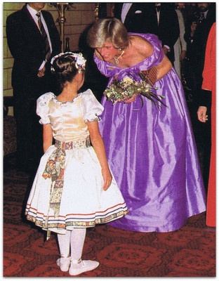 "April 18, 1983: Princess Diana meeting a member of the cast of the ballet, ""Coppelia"" at St James's Theatre in Auckland, NZ."