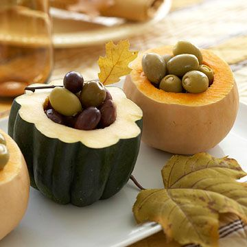 Cute serving idea: Up Styles, Tables Sets, Gourds, Thanksgiving Appetizers, Squashes, Serving Dishes, Olives, Thanksgiving Tables, Bowls