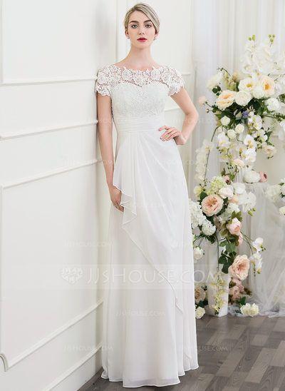 [US$ 149.99] Corte A/Princesa Escote redondo Hasta el suelo Gasa Vestido de novia con Cascada de volantes