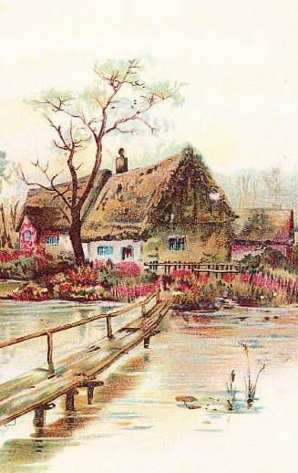 Sweet Vintage Cottage Illustration
