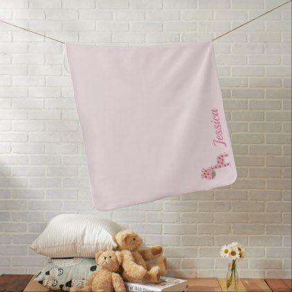 Pink Giraffe Monogram Baby Blanket - monogram gifts unique design style monogrammed diy cyo customize