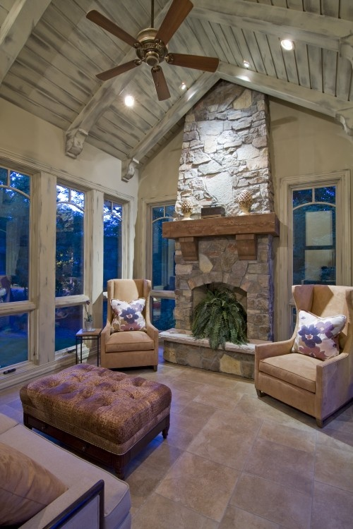 ceiling: Stones Fireplaces, Ceilings Treatments, Screens Porches, Dreams, Sunroom Ideas, Ceilings Design, High Ceilings, Cozy Spaces, Traditional Porches